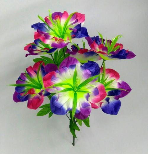 Искуственные цветы Мальва радуга 7-ка 1026